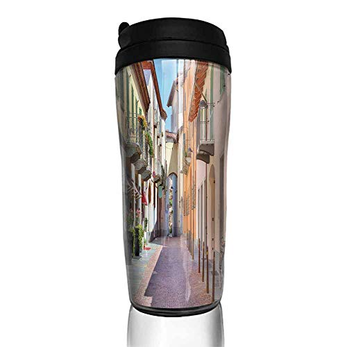 coffee cups with lids 12 oz City,Town of Alba Piedmont Northern Italy Narrow Stone Paved Street Among Colorful Houses,Multicolor 12 oz,coffee cup warmer for desk auto shut off