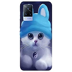 SmartNxt® Designer Printed Soft Plastic Mobile Cover for Vivo V21 5G  Pattern  Blue  Cute Animated Cat Wearing A Peace…