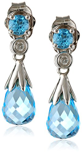 10k White Gold Blue Topaz and Diamond Accent Briolette Teardrop Earrings