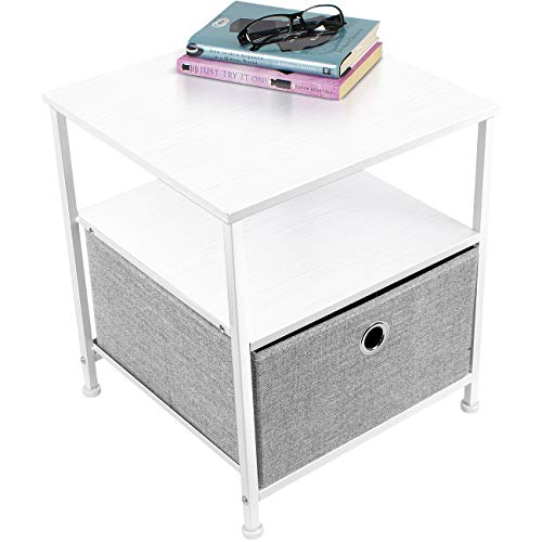 - Sorbus Nightstand 1-Drawer Shelf Storage- Bedside Furniture & Accent End Table Chest for Home, Bedroom, Office, College Dorm, Steel Frame, Wood Top, Easy Pull Fabric Bins (White/Gray)