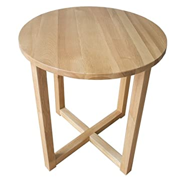 Yabbyou Tall Solid Oak Small Round Oak Coffee Table 45cm Wide (Light Oak)