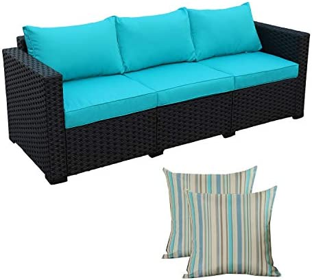3-Seat Patio PE Rattan Wicker Couch – Outdoor Rattan Sofa Furniture w Steel Frame and Turquoise Cushion
