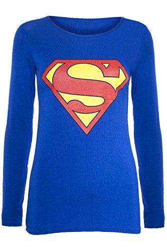 Neu Damen Ärmelloses Muskel Racerback Dehnbar Damen Comic Superhelden Held Mädchen Superman Batman Weste T T-shirt Tank Top - Kinder Superman Langarm T-shirt Blu - Superheld, 134-140