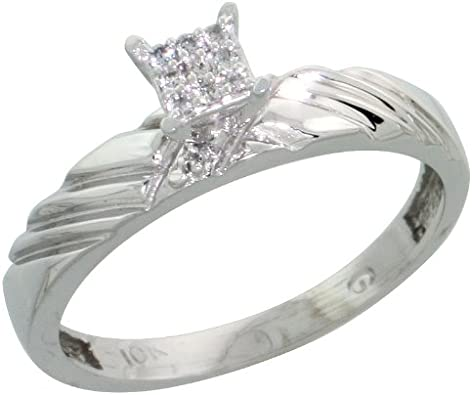 1//8in. Sterling Silver Diamond Engagement Ring Size 10 w// 0.06 Carat Brilliant Cut Diamonds 3.5mm wide