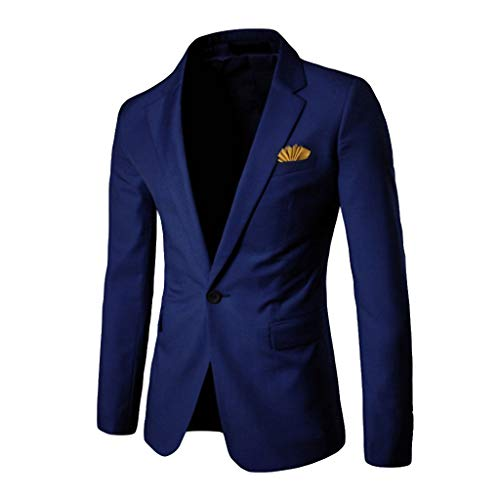 Men's Casual Slim Fit Suit Blazer Jackets Lightweight Sports Coats One Button Business Jacket Wedding Party Navy