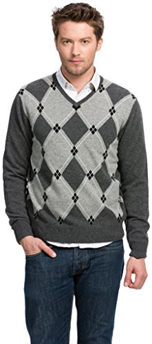 Argyle Sweater - 100% Cashmere - by Citizen Cashmere (Grey) 42 080-09-04 Cashmere Argyle Sweater