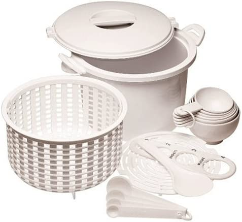 Prep Solutions by Progressive Microwaveable Rice and Pasta Cooker-17 Piece Set Includes Measuring Spoons and Cups, Rice Paddle, Steaming Insert, Pasta ...