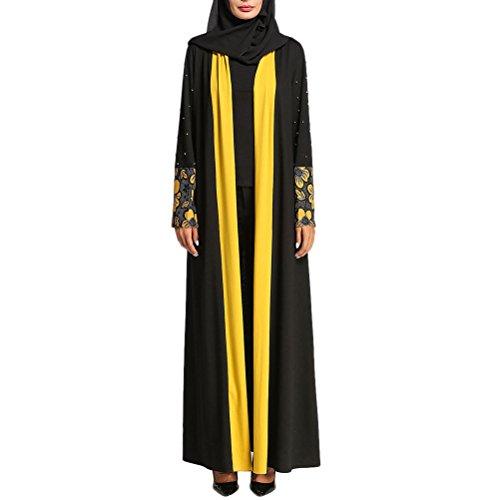 Zhhlaixing Dentelle Cardigan Muslims Dresses Hit Couleur Les Musulmans Arabe Longue Maxi Robe Caftan Tunique Dubai Turc Robes Noir&jaune