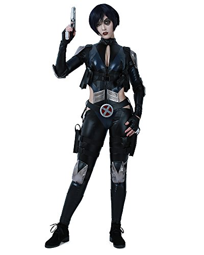 miccostumes Women's Black Domino Cosplay Costume with Belt Prop (L)]()