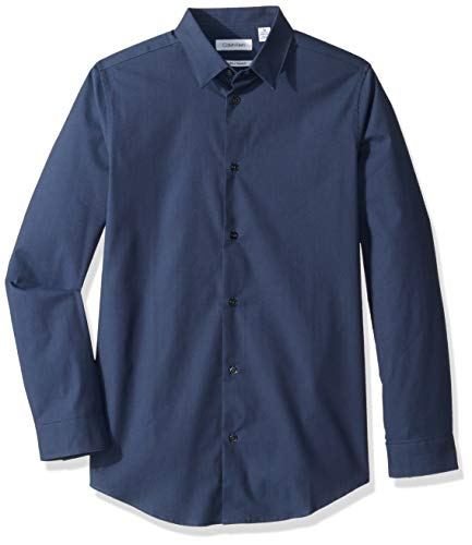 Calvin Klein Big Boys' Long Sleeve Solid Button-Down Dress Shirt, Provincial Blue, 12