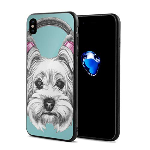 Phone Case Cover Compatible with iPhone X XS,Dog with Headphones Music Listening Yorkshire Terrier Hand Drawn Caricature,Compatible with iPhone X/XS 5.8