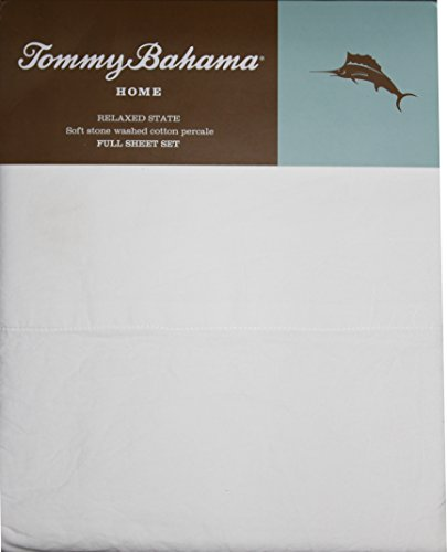 Tommy Bahama Home - White Full Size Relaxed State Stone Washed Cotton Percale Sheet Set