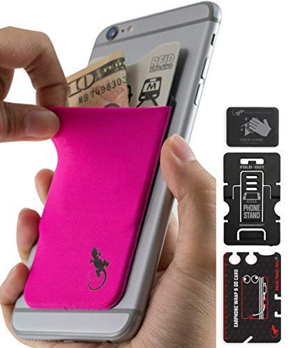 Phone Wallet - Cell Phone Stand - Adhesive Card Holder - Phone Pouch - Stick on Lycra Pocket by Gecko - Carry Credit Cards and Cash - Pink Black