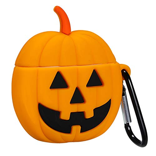 Funny Halloween Pumpkin Designs (Gift-Hero Compatible with Airpods 1&2 Soft Silicone Cute Case,Cartoon 3D Fun Fruit Cool Kawaii Funny Designer Kits Character Design Skin Fashion Chic Cover for Girls Boys Kids Teens Air)