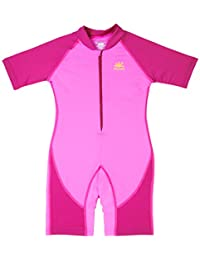 Nozone Girls Ultimate One-Piece Sun Protective UPF 50+ Swimsuit in Bahama/Fuxia, 12