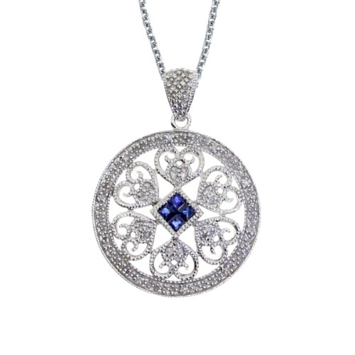 0.20 Carat (ctw) 14k White Gold Square Blue Sapphire and Diamond Women's Circle Heart Filigree Pendant with 18