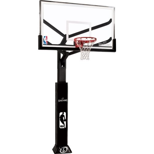 Spalding Arena View In-Ground Basketball System with 60-inch Aluminum Framed Glass Backboard