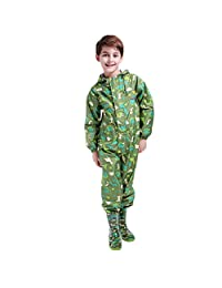 Kids Raincoat Ponchos Overall Rainsuit Boys and Girls Rain Gear,2-14 years