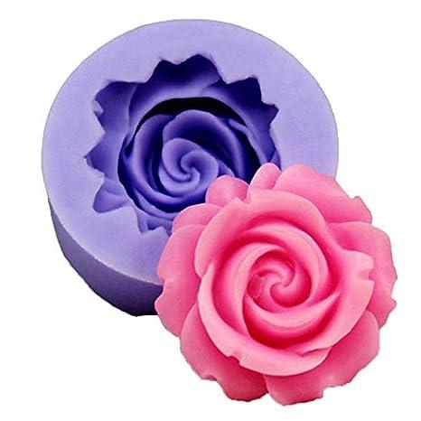 Oyfel Decoración Chocolate Tartas gelatina Velas Mini Moldes de Silicona Rosas de Flores Redondos antiadherentes Moldes de Fondant de Pastel de Flores ...