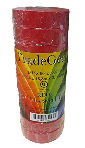 """TradeGear Red PVC Electrical Tape 1 Pack 60/' x 3//4/"""" x 0.07/"""" UL Listed"""