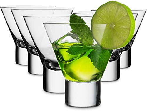 MITBAK 8 - Ounce Martini Glasses (Set of 6) | Elegant cocktail Cups | Great for Martini, Cocktail, Whiskey, Liquor, Margarita, Other Alcoholic Beverages | Made In Slovakia