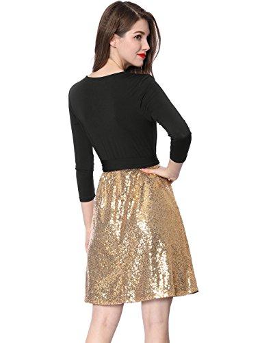 rtel ausschnitt Gold Allegra Pailletten Crossover Wickelkleid Schwarz Mit Frauen G v Panel K Partei IBBwqPC