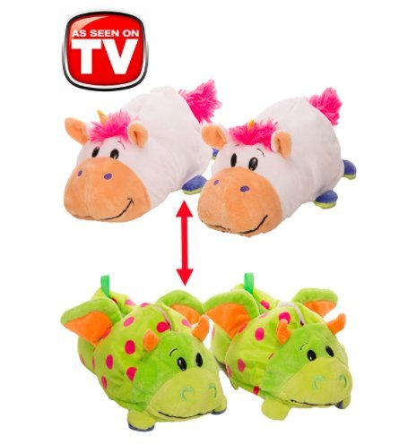 FlipaZoo SlipaZoos by Jay at Play (Unicorn to Dragon / Medium) - Transforming Animal Slippers Are Two Pairs in One – Plush Comfort for Your Feet and Twice the Fun for Kids and Adults