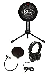 Blue Microphones Snowball Plug & Play USB Microphone Black Bundle with Pop Filter and Studio Headphones