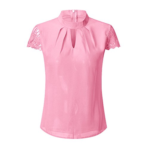 Londony Women's Casual Solid Patchwork Short Sleeve Lace Rose T-Shirt Tops Blouse Chiffon Loose Flutter Blouse Tops
