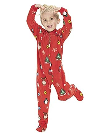 Amazon.com: Footed Pajamas - Holly Jolly Christmas Kids Fleece ...