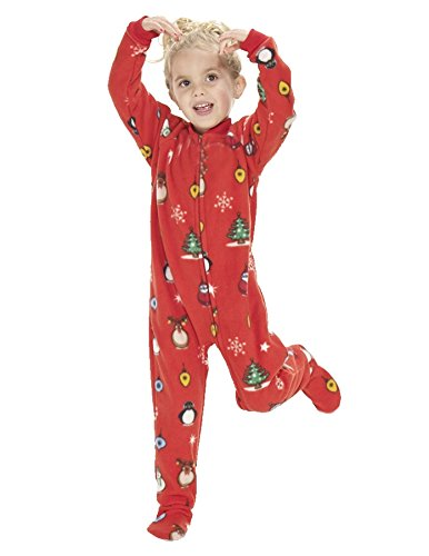 65bb98d9b574 Amazon.com  Footed Pajamas - Holly Jolly Christmas Kids Fleece  Clothing