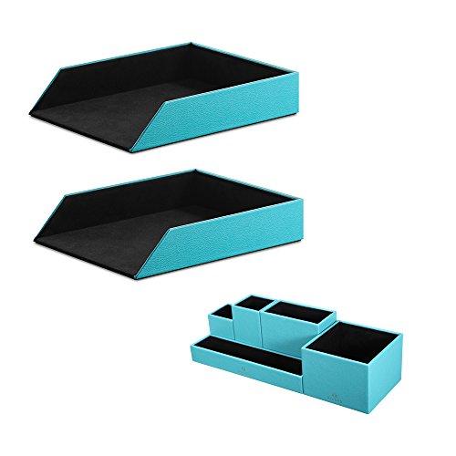 Vlando DIY Desk Organizer - Faux Leather Stackable Magazine File Holder Sorter and DIY Desktop Stationery Storage Box (Peacock Blue (Set of 3) New)