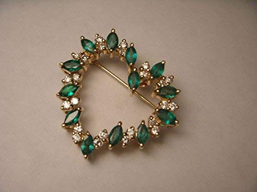 - Stunning 14K Yellow Gold Diamond Emerald Heart Brooch Pin Pendant