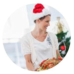 alfombrilla de ratón Alegre mujer con sombrero de santa y trayendo un pollo asado - ronda - 20cm