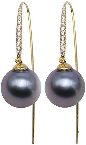 Pendientes de plata de ley 925 con diseño de perla tahitiana negra, 10,5 mm