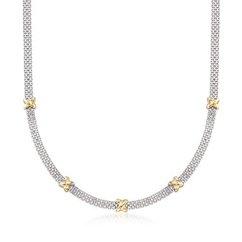 (Ross-Simons Sterling Silver and 14kt Yellow Gold Bismark Link Necklace)