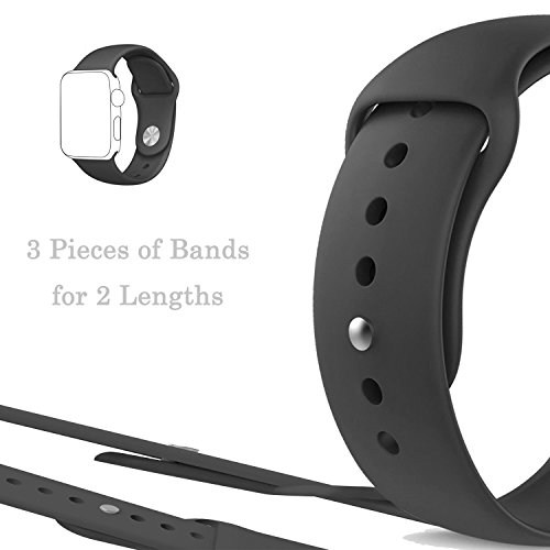 Silicone 38mm Watchband for iWatch Apple (Black) - 6