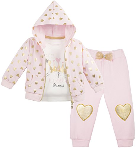 Lilax Baby Girl Soft Cotton Glitter Heart Print T-Shirt, Pant, and Hoodie Outfit Set 9M Pink ()