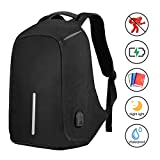 SySrion Travel Laptop Backpack, Business Anti-Theft Computer Backpack with USB Charging Port, Ergonomic Design, Durable, Water Proof, High Capacity, Ideal for Business/Travel/Outdoor/School, Black