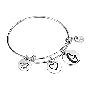 JantoDec Initial Bangle Bracelet for Women Expandable Wire Bracelet Jewelry with Letter Charm