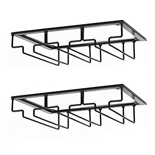 DEFWAY Wine Glass Rack - Under Cabinet Stemware Wine Glass Holder Glasses Storage Hanger 2 Pack Metal Organizer for Bar Kitchen Black]()