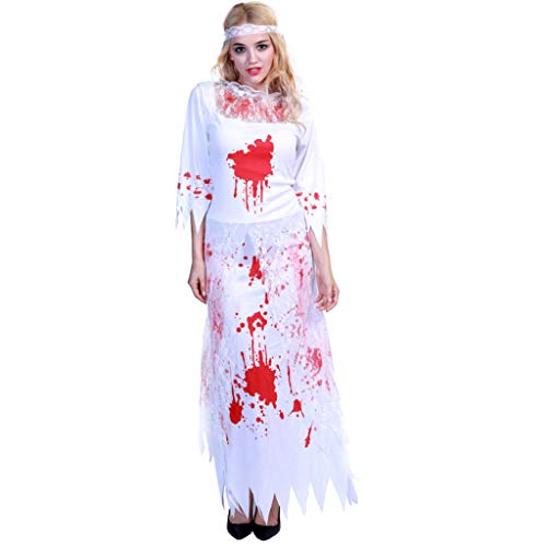 TINGSHOP Dead Skeleton Bride Costume, Women's Halloween Costume Dresses Ghost Bloody Zombie Bride Outfit Fancy Dress Christmas Carnival Role-Playing Party Decorative Props]()