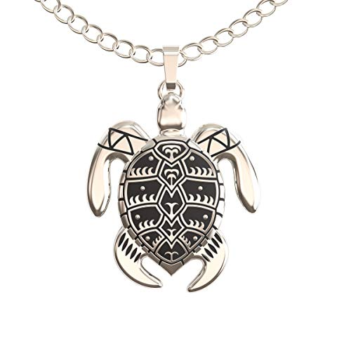 (Happy Kisses Sea Turtle Necklace for Women - Tribal/Native Black and Silver Pendant - Cute Message Card About Floating at Sea - Great Gift for Girls and Kids- 18