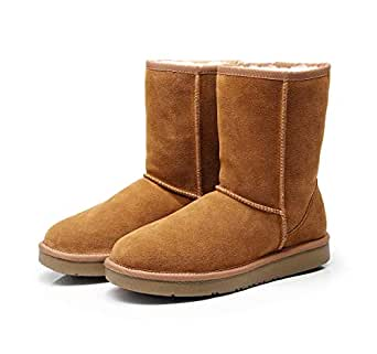 Prime Day Sale 2019 New Premium Wool UGG Boots, 3/4 Short Classic, Suede Upper & Australian Sheepskin Inner