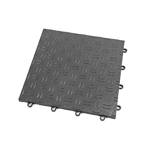 IncStores Diamond Grid-Loc Garage Flooring Snap Together Mat Drainage Tiles (24 Pack, Graphite)