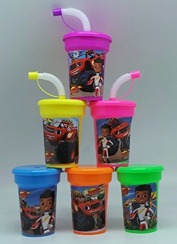 6 Blaze and the Monster Machines Stickers Birthday Sipper Cups with lids Party Favor Cups