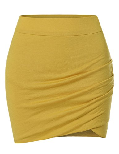 NEARKIN (NKNKSSK64) Womens Stretchy Waistband Shirring Fitted Mini Skirt MUSTARD US XL(Tag size 2XL) ()