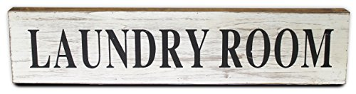 Urban Legacy Large Wooden Laundry Room Sign, Vintage Look White Painted Wood | 30 Inches Long