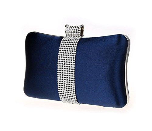 Case Hard Wedding Evening Clutch Rhinestone Diamante Purse Bag Blue Graceful Bridal Navy CFqfx