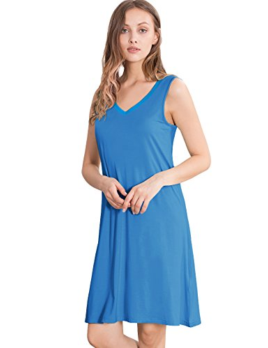 GYS Womens Bamboo Viscose Sleeveless V Neck Nightgown(XXL, Capri Blue) (Sleeveless Capri Pajamas)